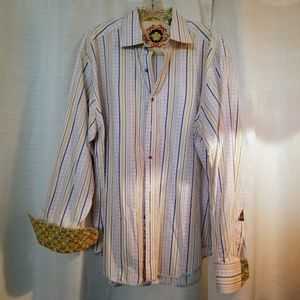 Robert Graham Stripe Casual Multicolor Shirt XL